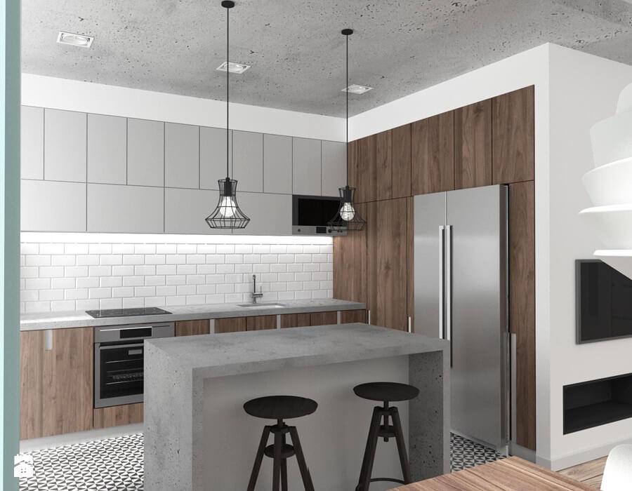 kuchnia w stylu industrialnym beton i drewno
