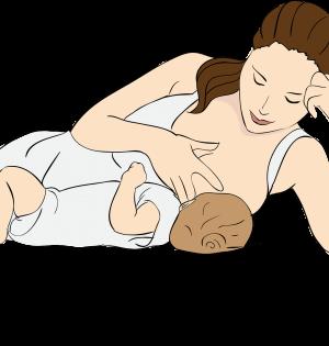 Kobieta karmi dziecko w biustonoszu do karmienia